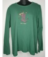 LIFE IS GOOD Cowboy/Cowgirl Boots Long Sleeve Shirt Sz Large Green Crush... - $18.99