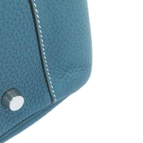 HERMES Lindy 34 Taurillon Clemence Blue Jean Handbag Shoulder Bag #Q Authentic image 7