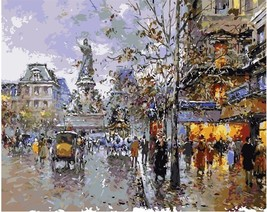 "City Square 16X20"" Paint By Number Kit DIY Acrylic Painting on Canvas Fr... - $8.90"