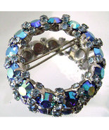 Vintage Signed Warner Blue AB Rhinestone Wreath... - $25.00
