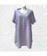 Flax Tee Shirt Linen Dress Pockets womens 2G XXL 2X Purple Stripe NWT - $88.00