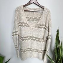 Free People V-Neck Sweater Fuzzy Knit Striped Tan Size Medium - £37.68 GBP