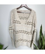 Free People V-Neck Sweater Fuzzy Knit Striped Tan Size Medium - $49.49