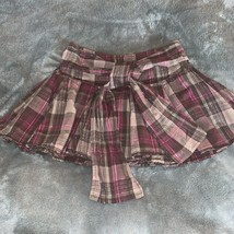 Girls Size 8 Justice Brown Pink Plaid Pleated Short Mini Skirt Skort GUC - $12.00