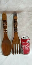 "Vtg Oversize HUGE WOOD FORK & SPOON Tiki Polynesian 12"" TALL Carved Wall... - $20.25"