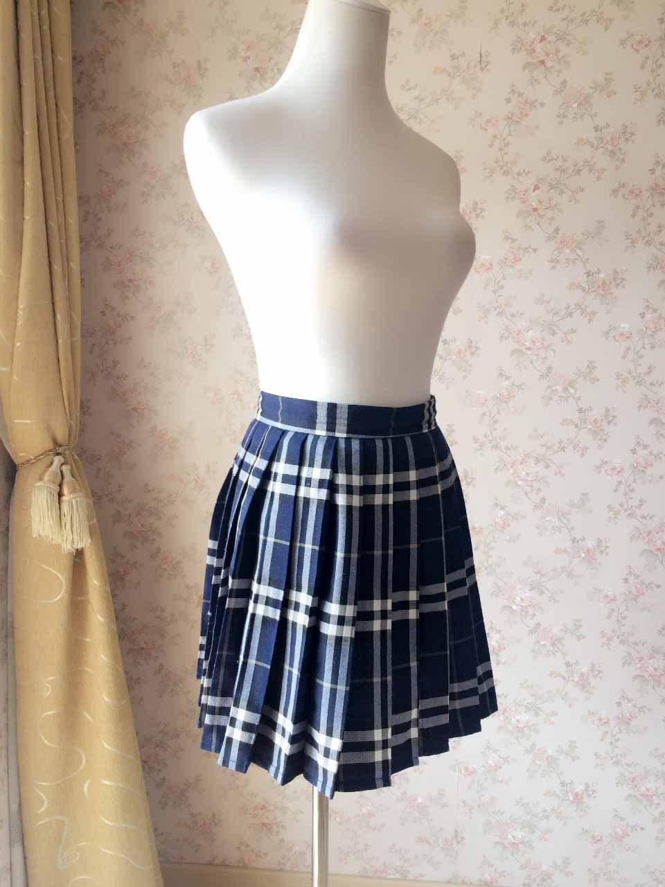 7c7d91077d Navy Blue Plaid Skirt Women Pleated Plaid Skirt Navy School Style ...