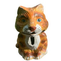 Bits and Pieces Mechanical Cast Iron Brown Cat Novelty Coin Bank Figure - $24.74
