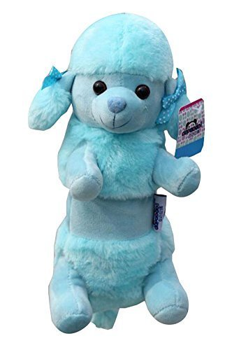 Plush Cute Animal Zipper Pencil Case Blue Poodle