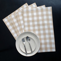 Cotton Placemats Checkered Beige & White 4/pack - $14.89