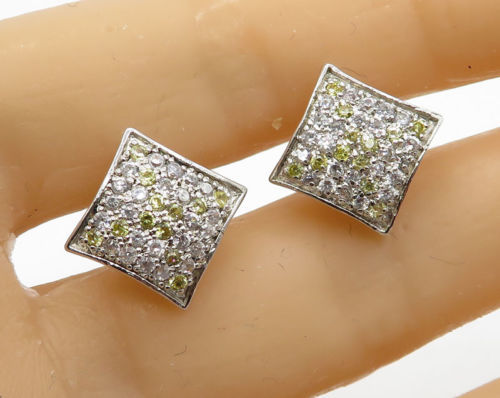 Primary image for 925 Sterling Silver - Vintage Yellow & White Topaz Stud Earrings - E1368