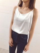 WHITE Sleeveless Silky Tank Tops WHITE Party Tanks Summer Wedding Bridesmaid Top