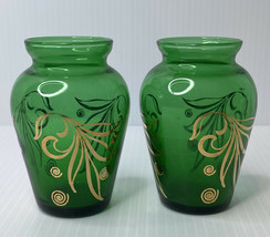 "Pair Forest Green & Gold Leaf Swirl Small Glass Vases Anchor Hocking 3 3/4"" H - $14.80"