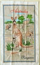 Souvenir Linen Tea Towel Kitchen Wall Hanging Australia Kangaroos - $7.91