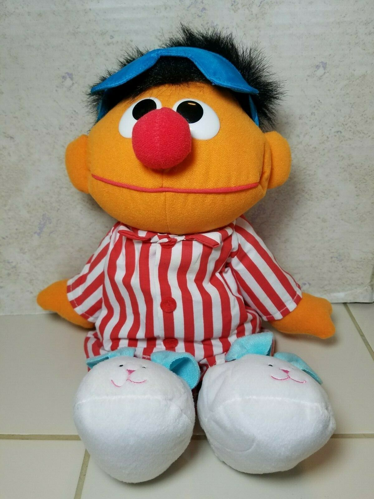 "TYCO Sesame Street Sleep And Snore Ernie 1996 Plush Doll 18"" Jim Henson Muppet image 1"