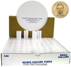 Small Dollar Square Coin Tubes, Numis Brand, 26.5mm, 100 pack - $58.98