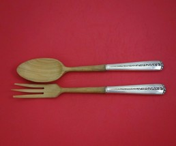 Rambler Rose by Towle Sterling Silver Salad Serving Set 2pc Olive Wood 1... - $109.00