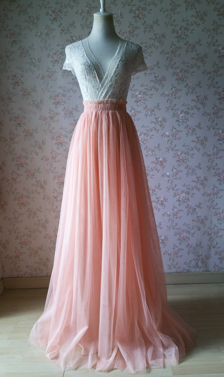 CORAL PINK Full Length Tutu Skirt Coral Pink Wedding Bridesmaid Maxi Tutu Skirt
