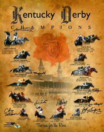 Primary image for Pleasant Colony signed Kentucky Derby Champions Churchill Downs Run for the Rose
