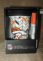 LICENSED NFL DENVER BRONCOS 'COLOR ME' TALL CERAMIC COFFEE CUP MUG W/LID... - $25.99
