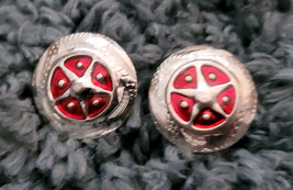 """Silver Star Concho Red enamel accent NEW by Action Company 1 1/2"""" Set of 4 image 1"""
