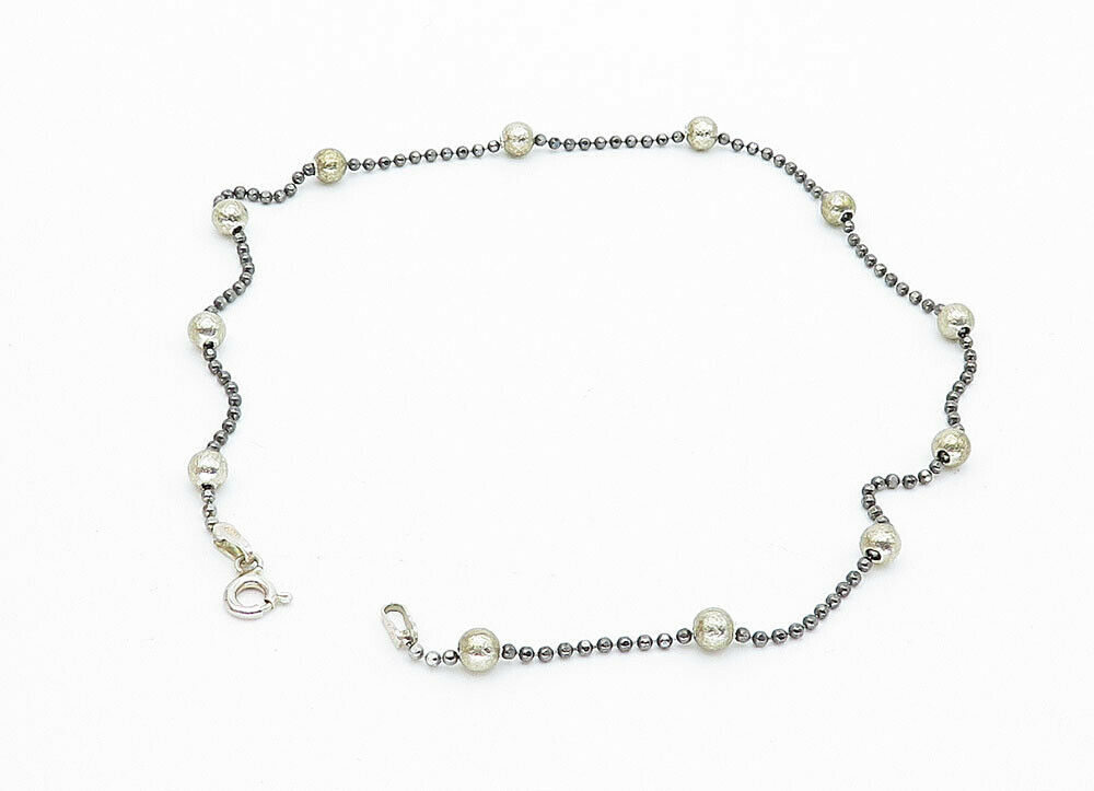 925 Sterling Silver - Vintage Petite Two Tone Ball Beaded Chain Bracelet - B5921