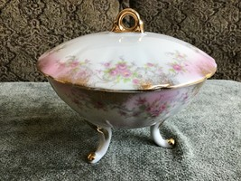 Vintage Lefton Hand Painted Three Footed Covered Candy Dish Mother's/Grand Day - $16.83