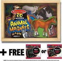 Animal Wooden 20 Magnets-in-a-Box Gift Set + FREE Melissa & Doug Scratch Art Min - $18.56