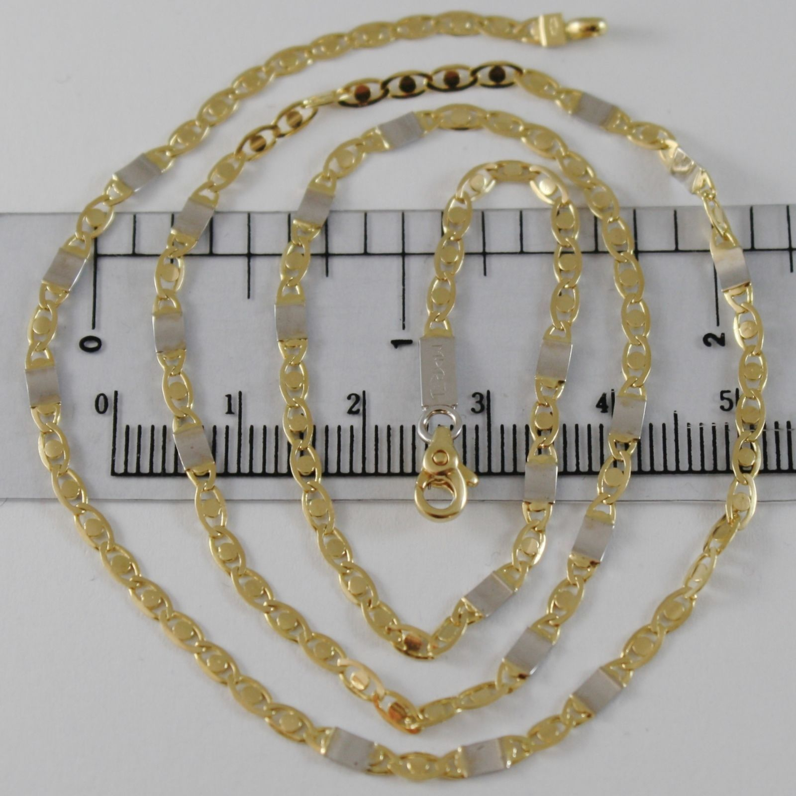 SOLID 18K WHITE & YELLOW GOLD CHAIN, OVAL PLATES LINK 19.68 IN. MADE IN ITALY