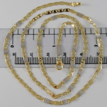 SOLID 18K WHITE & YELLOW GOLD CHAIN, OVAL PLATES LINK 19.68 IN. MADE IN ITALY image 1