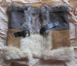UGG Scarf Linde Snood Shearling Chestnut Grey Bomber NEW - $371.25