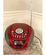 Red Emerson Portable CD Player Digital Tuner Stereo Cassette Recorder Bo... - $59.40