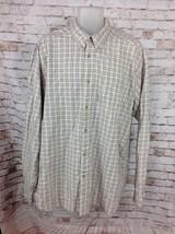 Columbia Mens Sz 2XL XXL Long Sleeve Button Up Shirt 100% Cotton Plaid Beige - $19.95