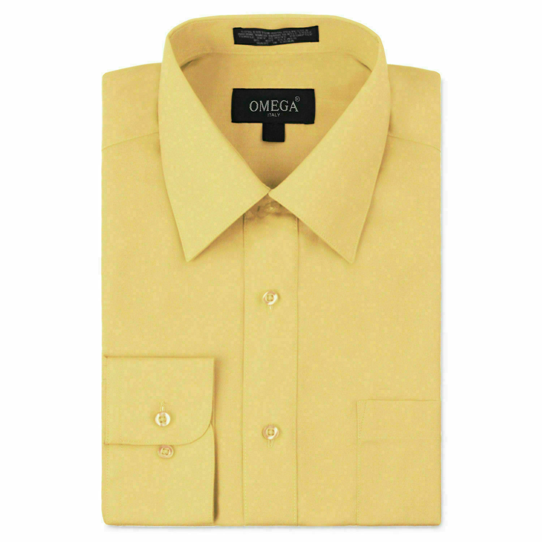 Omega Italy Men's Long Sleeve Regular Fit Light Yellow Dress Shirt - M