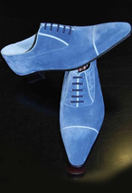 Handmade Men's Blue Suede Dress/Formal Oxford Suede Shoes image 1