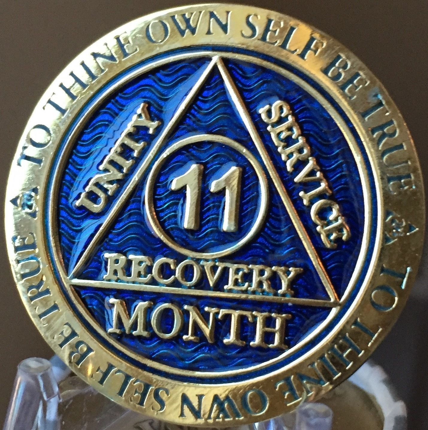 1 Month AA Medallion Reflex Blue Gold Plated 30 Day Sobriety Chip Coin