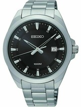 NEW Seiko Quartz SUR209 Mens Black Date Dial Stainless Steel Watch - $89.99