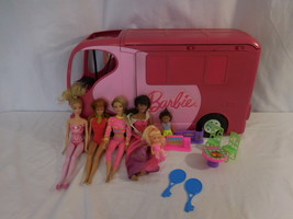Barbie Sisters Go Camping Pop-up Pink RV Camper By Mattel 2010 + 1999 Do... - $64.02
