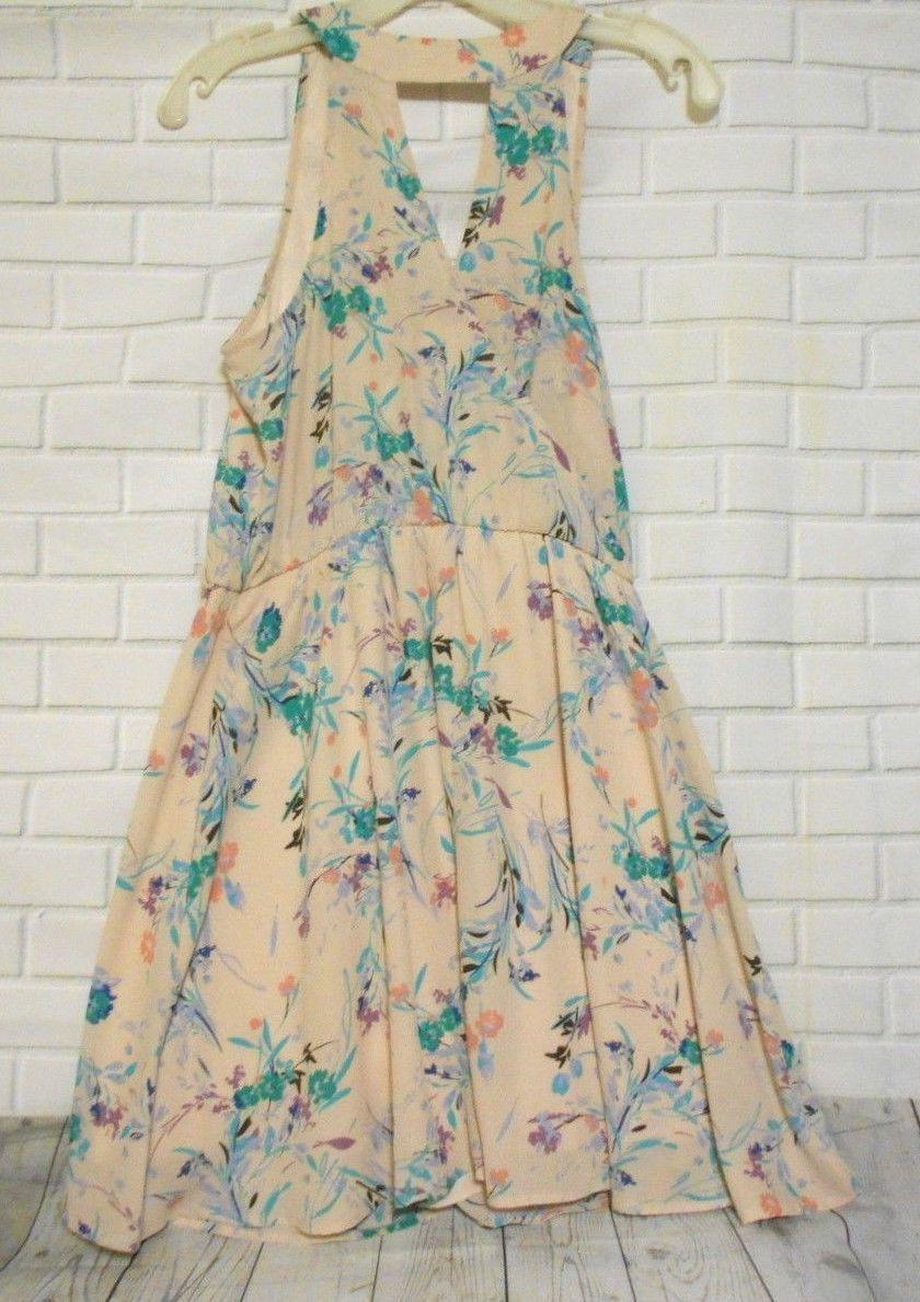 Lush Peach Teal Purple Floral Medium Sleeveless V Neck  Keyhole Lined Dress