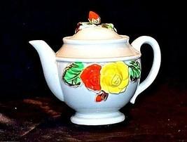 Ceramic TeaPot Japan Grey Pot with Yellow and Orange Flowers AB 535-B Vintage