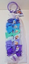 Disney Frozen 7 Hair Bow Clips With Storage Back & Hang Ring New - $8.99