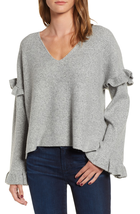 CUPCAKES AND CASHMERE Ruffle Slouchy Sweater In H Grey Size XS NWOT - $49.49
