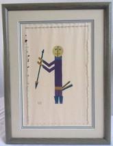 Vintage Native American Indian FOLK ART Needlepoint Painting Hunter Sout... - $80.59