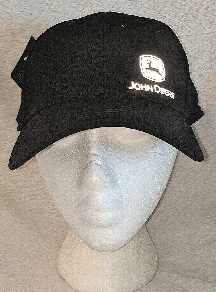 John Deere LP66986 Black Reflective Logo Cotton And Spandex Cap