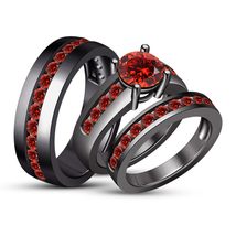 His & Her Red Garnet Wedding 14K Black Gold Over Trio Bridal Engagement ... - $167.99