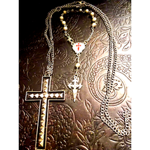 Bracelet Rosary~Silver Cross Necklace - $17.82