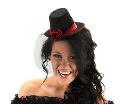 SteamPunk Cosplay Vampire Little Victorian Black and Red Top Hat Mini NE... - $14.50