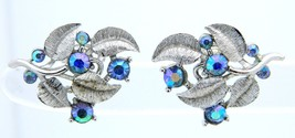 VTG CROWN TRIFARI Silver Tone Blue AB Rhinestone Flower Leaf Clip Earrings - $39.60