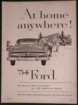 Ford Car Print Ad 1954 The Standard for the American Road! - $8.91