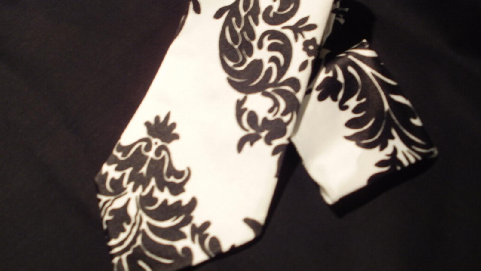 Damask Necktie Boy's Satin Black White Necktie Wedding Party  Ring bearer