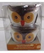 New Set of 2 Owl Ceramic Ramekins ice cream Dessert Bowl Thanksgiving Fa... - $9.69